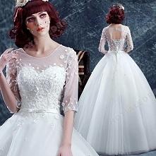 Sweet Lace Flowers Sexy Scoop Neck Long-sleeved Floor-Length Wedding Dress