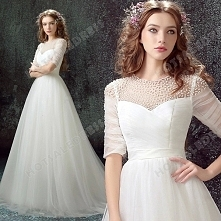 A-Line Luxury Pearl Lace Sweetheart Long-sleeved Bride Wedding Dress 2016 New