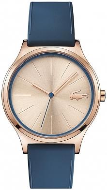 złoty zegarek z granatowym paskiem, elegancki damski model Lacoste