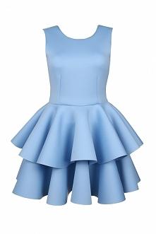 Wizytowa sukienka z falbankami błękitna