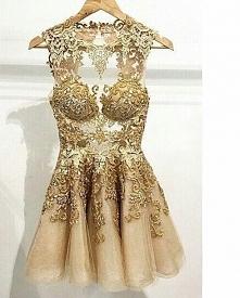 Piękna złota sukienka na studniówkę/wesele ;)