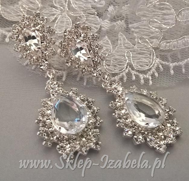 Kolczyki ślubne z kryształami