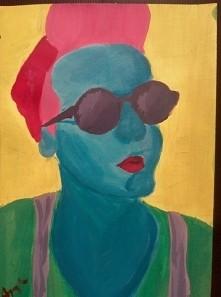 autoportret, farby akrylowe
