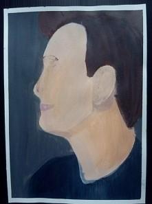 portret, farby akrylowe