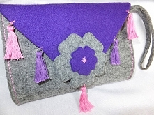 torebka kopertówka z filcu z frędzlami BOHO