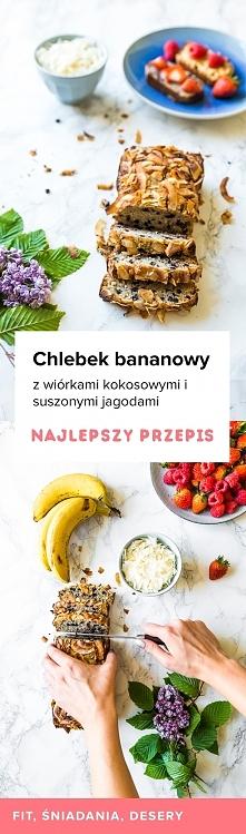 Przepis na absolutnie przepyszny Chlebek bananowo kokosowy z suszonymi jagodami. Spróbujcie koniecznie.