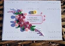Karta ślubna wykonana metodą quillingu. Więcej zdjęć na stronie facebook. com/papierowecuda (spację usunąć) Serdecznie zapraszam! :)