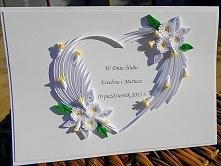 Ślubne serce wykonane metodą quillingu.   Więcej zdjęć na stronie facebook. com/papierowecuda (spację usunąć) Serdecznie zapraszam! :)
