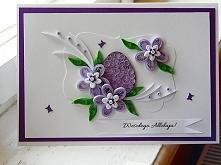 Wielkanocna karteczka wykonana metodą quilling.  Więcej zdjęć na : facebook. com/papierowecuda/ (usunąć spację) Zapraszam z=serdecznie!