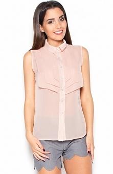 Katrus K378 bluzka pudrowy róż Elegancka modna bluzka, wykonana ze zwiewnej tkaniny, bez rękawów