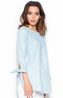 Katrus K377 koszula błękitna Stylowa koszula, luźny i komfortowy fason, rękawy wiązane na kokardki, dekolt na gumce