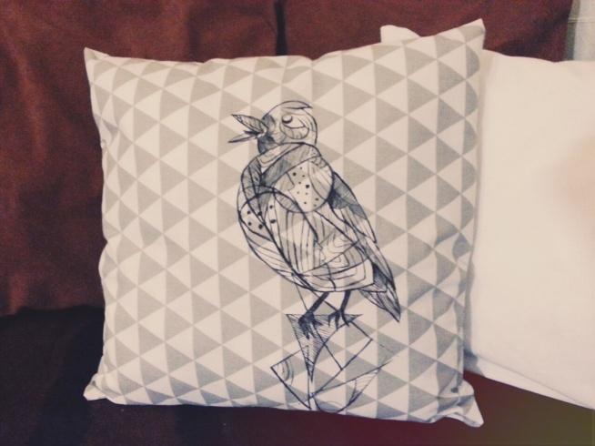 poduszka dekoracyjna, RĘCZNIE MALOWANA 40X40 ptak