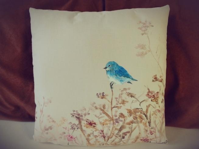 niebieski ptak, poduszka dekoracyjna, RĘCZNIE MALOWANA :)