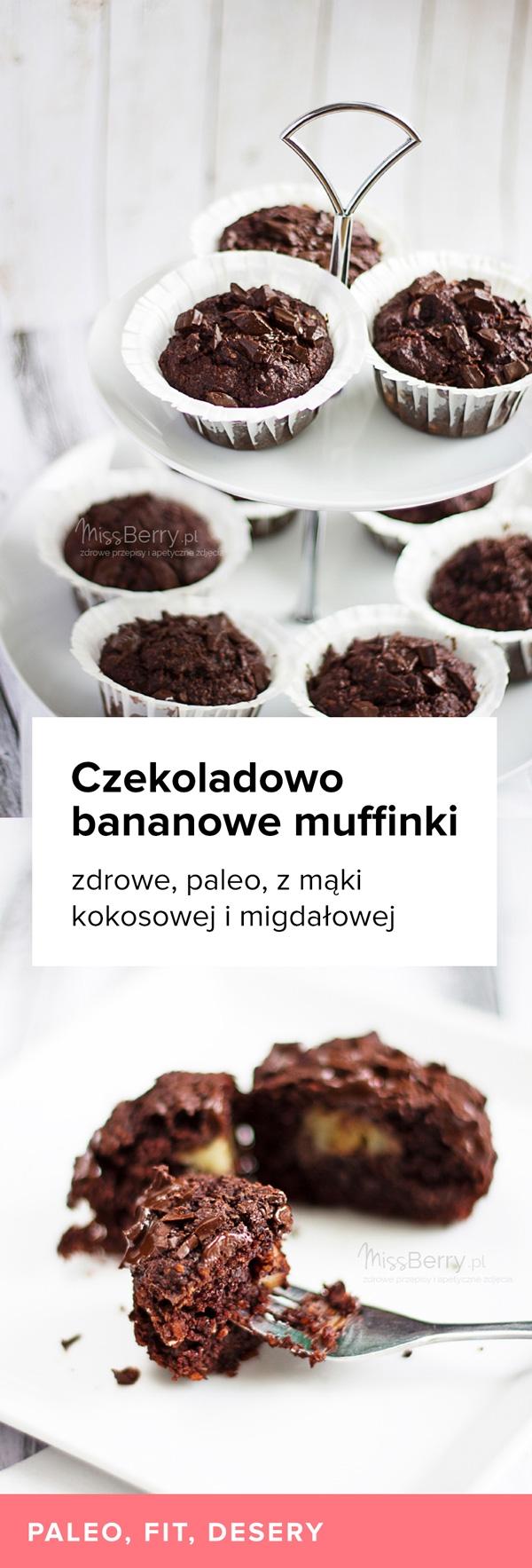 Przepis na Czekoladowo bananowy muffinki paleo z mąki kokosowej i migdałowej. Zdrowy deser.