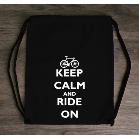 Plecak eko KEEP CALM and RIDE ON. Wykonany z solidnej bawełny idealnie sprawdzi się na rowerowe wycieczki. littlethings.pl