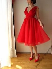 nowa34 36 38 sukienka tiul wrap top czerwony midi