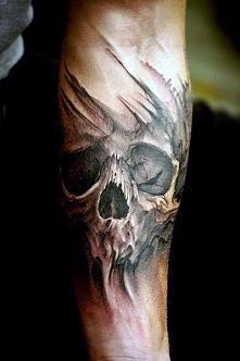 tatuaże czaszki na ręce 3d