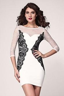 Biała koronkowa sukienka z czarnymi wstawkami