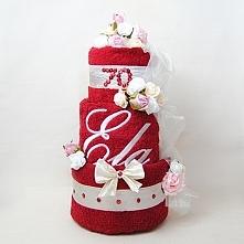 Ręcznikowy tort z haftem. Na urodziny, rocznicę, ślub...