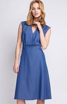 Lanti SUK125 sukienka jeansowa Rewelacyjna sukienka, dekolt w szpic uwydatnia...