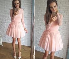 tiulowa sukienka z długim rękawem, morelowy, Illuminate <3 <3 <3
