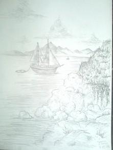 statek wśród skał