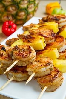 Grillowane szaszłyki z krewetek i ananasa