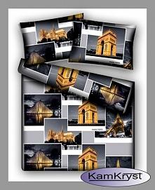 Pościel satyna bawełniana z fotkami Paryża - 100% bawełna