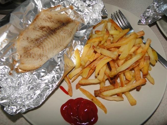 Dobry obiadek... ;) Fish&chips.