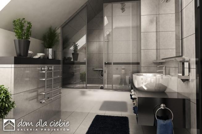 Projekt gotowy Szczęśliwa to nowoczesna propozycja domku taniego i ekonomicznego. Propozycja wizualizacji łazienki.