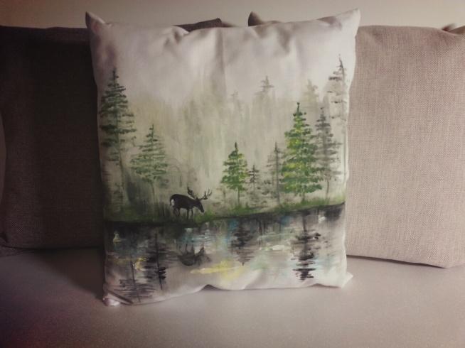 las, poduszka dekoracyjna RĘCZNIE MALOWANA; HANDMADE by PassionArts