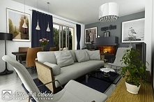 Projekt gotowy Szczęśliwa to nowoczesna propozycja domku taniego i ekonomicznego. Propozycja wizualizacji salonu.