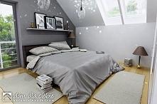 Projekt gotowy Szczęśliwa to nowoczesna propozycja domku taniego i ekonomicznego. Propozycja wizualizacji sypialni na poddaszu.