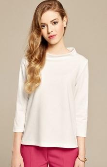 Misebla M0153 bluzka ecru Piękna bluzka, model o trapezowym kroju, niską stójka eksponuję szyję