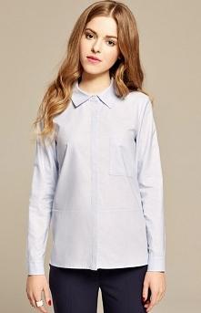 Misebla M0159 koszula błękitna Klasyczna koszula damska, długi rękaw, prosty fason, z przodu kieszonka
