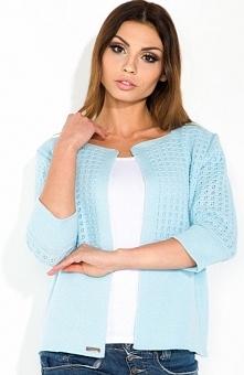 Fobya F305 sweter błękitny Kobiecy sweter damski, niezapinany, rękaw za łokieć