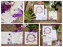 Fioletowe zaproszenia ślubn...