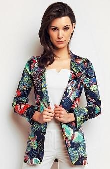Karen-styl H74 żakiet granatowy Kolorowy żakiet, niezapinany fason, długi rękaw, wykonany z tkaniny w kolorowe motyle