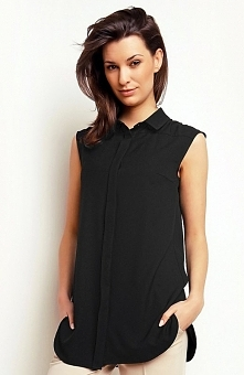 Karen-styl H73 koszula czarna Kobieca koszula damska,  dłuższy fason, bez rękawów, zapinana z przodu na guziki, kołnierzyk