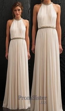 White Pleated Long Jewels Waist Sleeveless Prom Dress