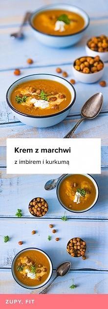 Przepis na Krem z marchwi z imbirek i kurkumą. Zupa z prażoną ciecierzycą.