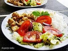 grillowany kurczak z ryżem i sałatką