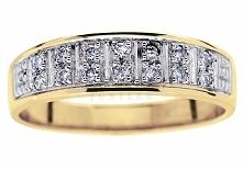 Nowoczesny pierścionek z żółtego złota z brylantami o łącznej masie 0,14 ct - doskonały jako obrączka ślubna - GRAWER W PREZENCIE