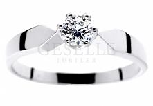 Doskonały, zaręczynowy pierścionek z białego złota z certyfikowanym brylantem...