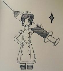 Nie lubię pielęgniarek ;-; kolejny bazgroł narysowany nowymi mazakami :3 jak ...