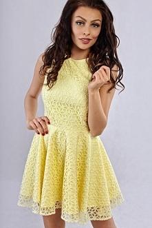 Koronkowa żółta sukienka na lato