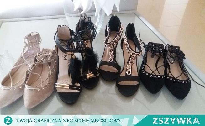 Ostatnie pary: -czarne sznurowane baleriny , r.38 - nude sznurowane baleriny,  r.39 -sznurowane sandałki z piorkami,  r. 36,38 -sandałki z złotym łańcuchem,  r.37