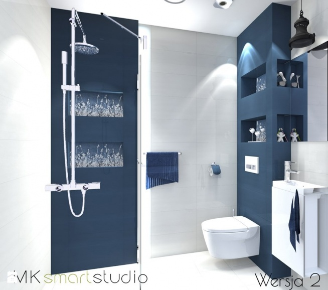Granatowa łazienka Na Mieszkanie Zszywkapl