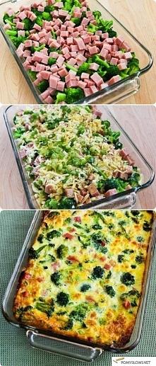 Pyszna zapiekanka.... Przepis: 1 brokuł * pół kilo dowolnej szynki ( w jendym kawałku) * 2 jajka * starty ser żółty * sól, ew. przyprawy  Brokuły umyć i lekko podgotować aby był...