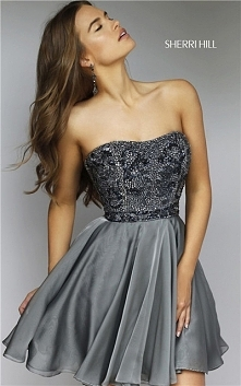 Sherri Hill 1954 Gunmetal Beaded Strapless 2016 Prom Dress Short